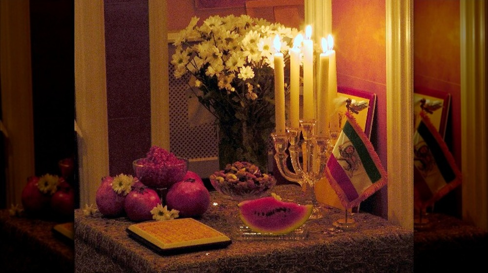 Yalda Night table in the celebration of Persians (Iranians) in Holland, Amsterdam, December, 2011
