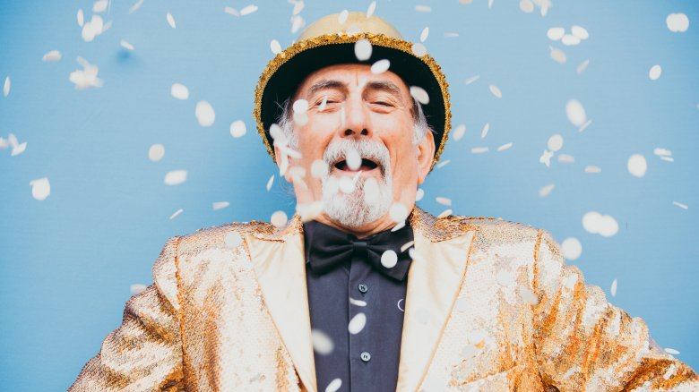 Man with confetti