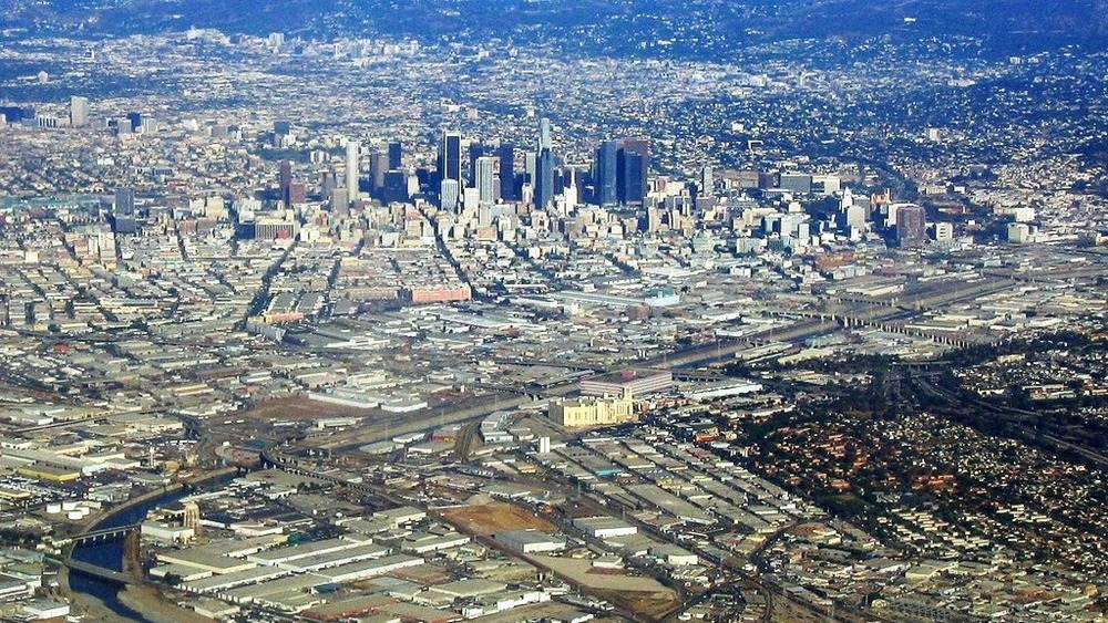 aerial view of Los Angeles River