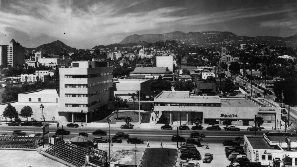 Aerial view of 1930s Los Angeles