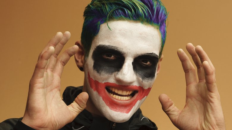 crazy man, face paint, joker