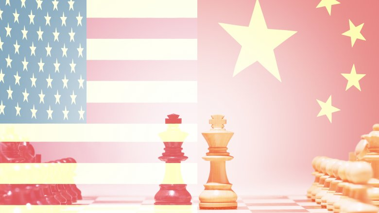 US China flag chess