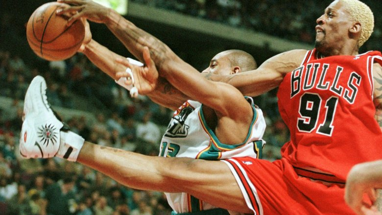 Dennis Rodman flying through air