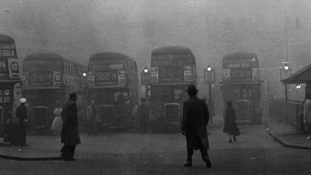 Fog on bus stop, historical photo