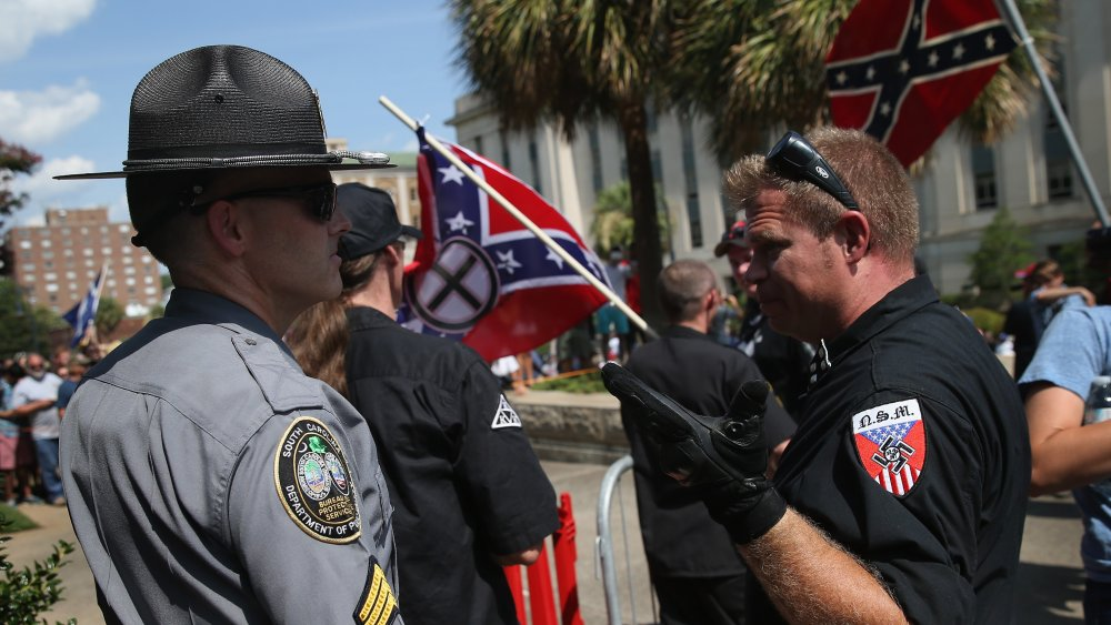 White supremacist talking to cop