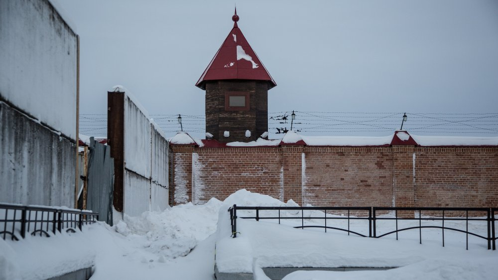 Courtyard and tower of the Castle Prison in Siberia, built in 1855