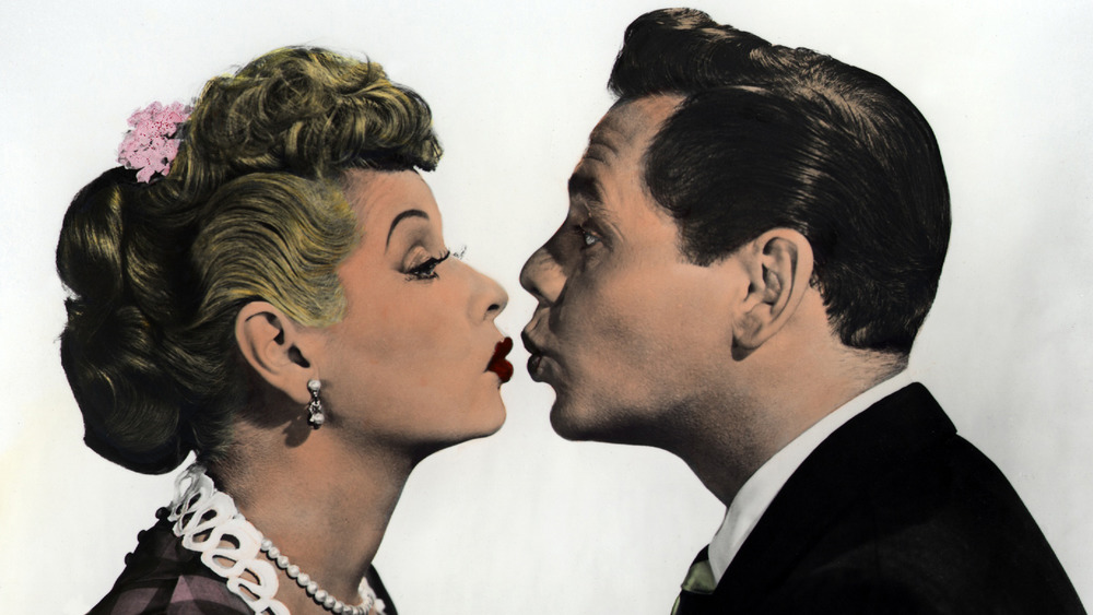 Lucy and Desi almost kissing