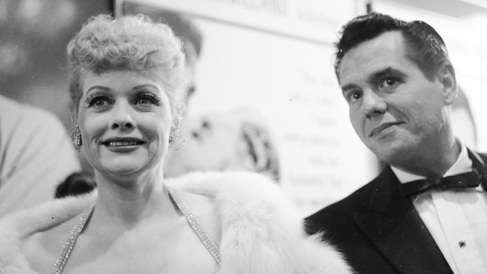 Lucille Ball and Desi Arnaz arrive at a CBS party