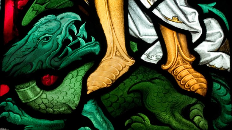 Victory over Satan stained glass