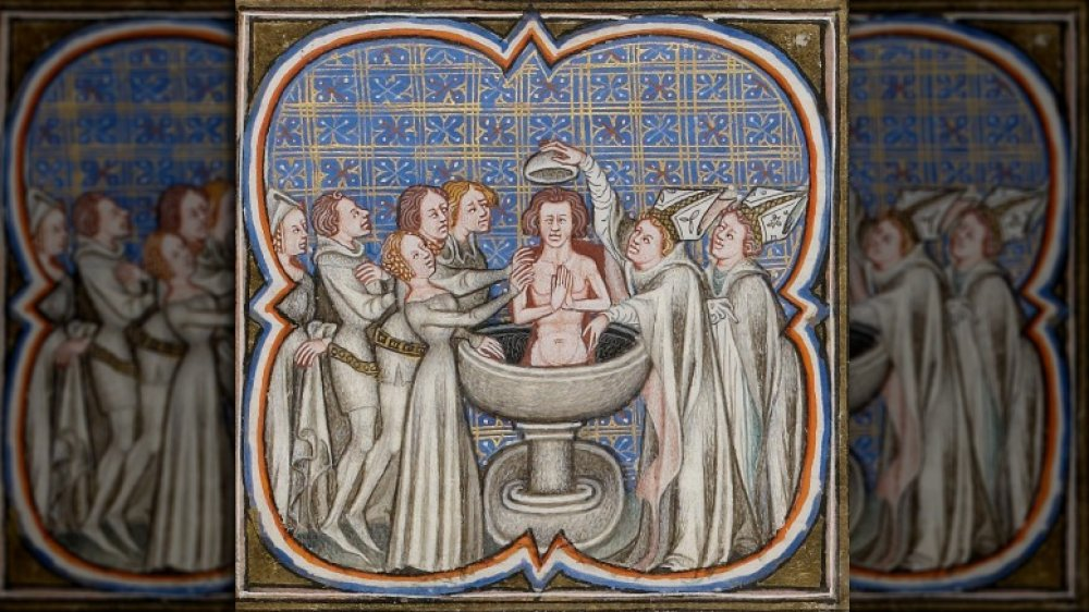 15th century miniature showing the baptism of Rollo of Normandy, a Viking raider who reportedly converted to Christianity in 912 CE