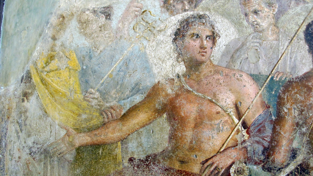 Ancient Rome fresco from Pompeii showing Achilles