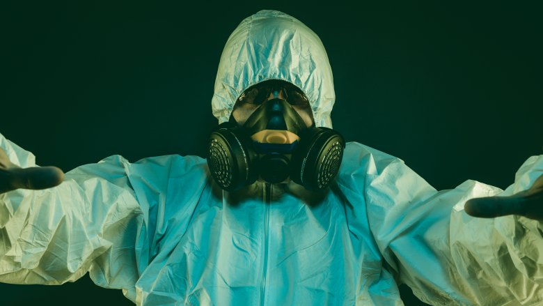 Man in a hazmat suit